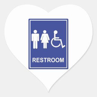Unisex Handicap Restroom without Text Heart Sticker