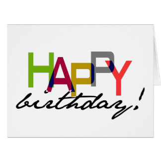 Unisex Happy Birthday Typography Greeting Card