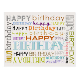 Happy birthday postcards happy birthday post cards unisex happy birthday typography postcard bookmarktalkfo Image collections