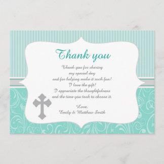 Unisex Turquoise Baptism Thank You Card Note
