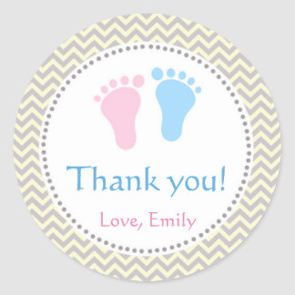 Unisex Twins Baby Shower Labels Pink Blue