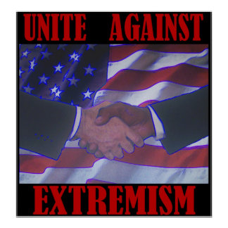 Unite Against Extremism/hand shake Poster