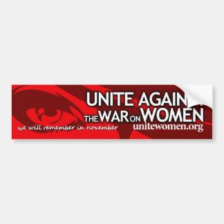 Unite against the war on women bumper sticker