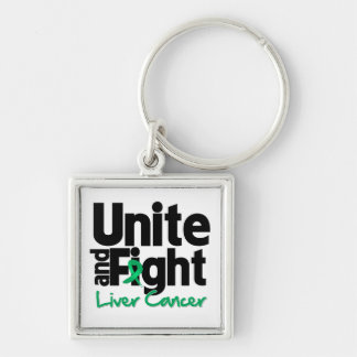 Unite and Fight Liver Cancer Silver-Colored Square Keychain