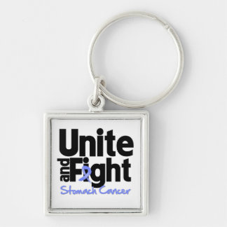 Unite and Fight Stomach Cancer Silver-Colored Square Keychain