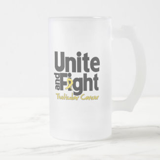Unite and Fight Testicular Cancer 16 Oz Frosted Glass Beer Mug