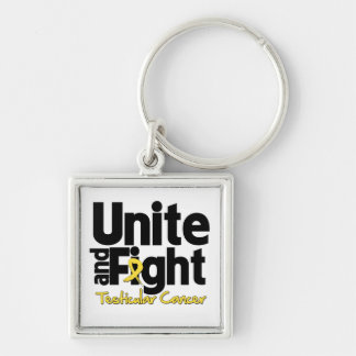 Unite and Fight Testicular Cancer Silver-Colored Square Keychain