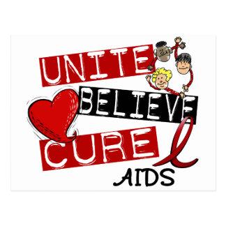 UNITE BELIEVE CURE AIDS HIV POSTCARD