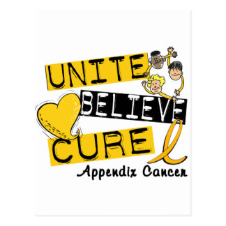 UNITE BELIEVE CURE Appendix Cancer Postcard