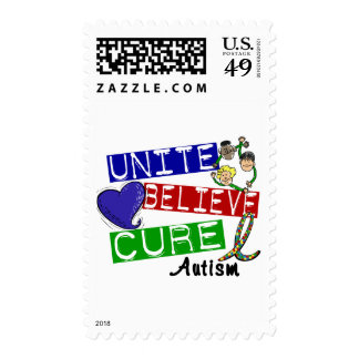 UNITE BELIEVE CURE Autism Postage Stamps