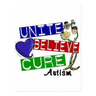 UNITE BELIEVE CURE Autism Postcard