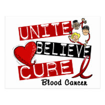 UNITE BELIEVE CURE BLOOD CANCER POSTCARD