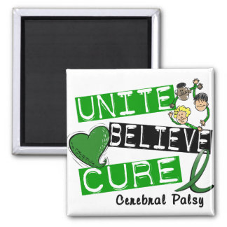 UNITE BELIEVE CURE Cerebral Palsy 2 Inch Square Magnet