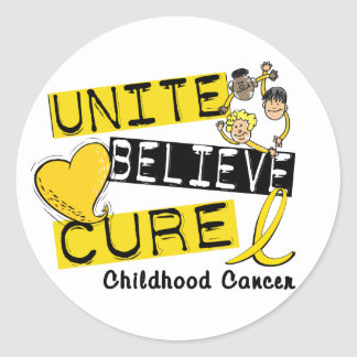 UNITE BELIEVE CURE Childhood Cancer Classic Round Sticker