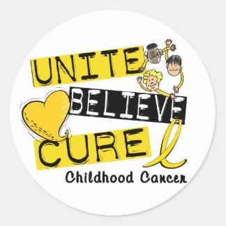 UNITE BELIEVE CURE Childhood Cancer Round Sticker