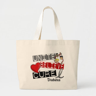 UNITE BELIEVE CURE Diabetes Large Tote Bag