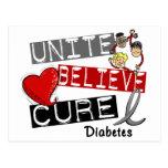 UNITE BELIEVE CURE Diabetes Postcards