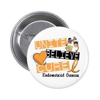 UNITE BELIEVE CURE Endometrial Cancer Pinback Button