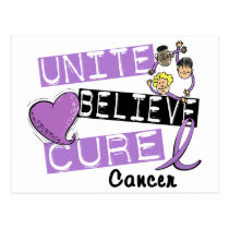 UNITE BELIEVE CURE General Cancer Postcard