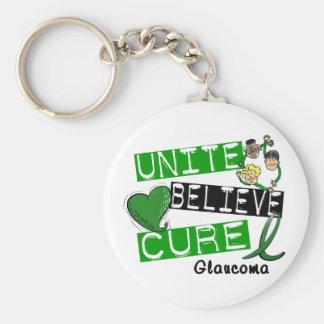 UNITE BELIEVE CURE Glaucoma Basic Round Button Keychain