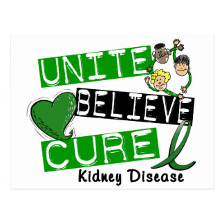 UNITE BELIEVE CURE Kidney Disease Postcard