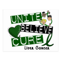 UNITE BELIEVE CURE Liver Cancer Postcard
