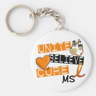 UNITE BELIEVE CURE MS BASIC ROUND BUTTON KEYCHAIN