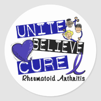 UNITE BELIEVE CURE Rheumatoid Arthritis Classic Round Sticker