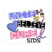 UNITE BELIEVE CURE SIDS POSTCARD