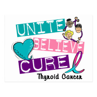 UNITE BELIEVE CURE Thyroid Cancer Post Cards