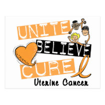 UNITE BELIEVE CURE Uterine Cancer Postcard
