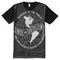 Unite for Socialism white on black t-shirt