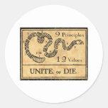 Unite or Die  mug Round Stickers