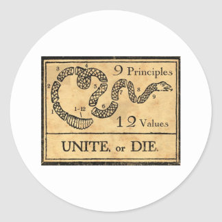 Unite or Die  mug Round Stickers