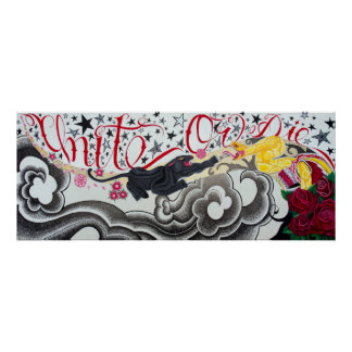"""UNITE OR DIE POSTER. 16X40"""" inches. Poster"""