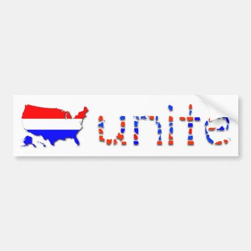 """""""Unite the U.S."""" Bumper Sticker - White"""