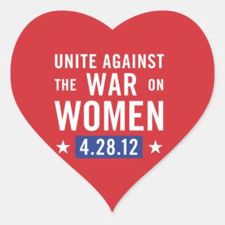 United Against The War On Women Heart Sticker