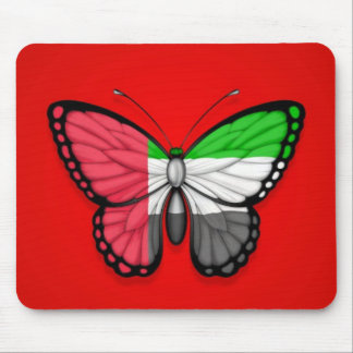 United Arab Emirates Butterfly Flag on Red Mouse Pad