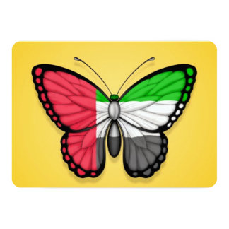 """United Arab Emirates Butterfly Flag on Yellow 5"""" X 7"""" Invitation Card"""