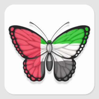 United Arab Emirates Butterfly Flag Square Sticker