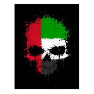 United Arab Emirates Dripping Splatter Skull Postcard