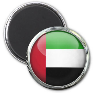 United Arab Emirates Flag Glass Ball 2 Inch Round Magnet