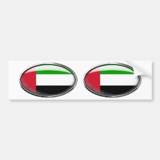 United Arab Emirates Flag Glass Oval Bumper Sticker