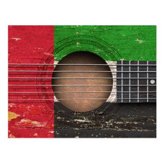 United Arab Emirates Flag on Old Acoustic Guitar Postcard