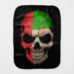 United Arab Emirates Flag Skull with Red Roses Baby Burp Cloth