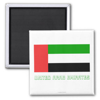 United Arab Emirates Flag with Name 2 Inch Square Magnet