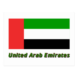 United Arab Emirates Flag with Name Postcard
