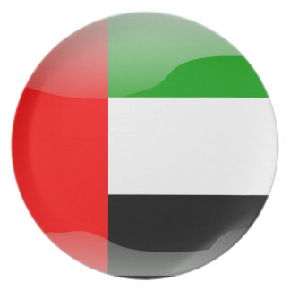 United Arab Emirates glossy flag Dinner Plate