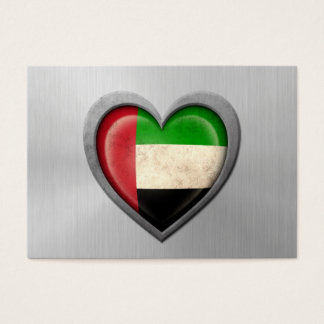 United Arab Emirates Heart Flag Stainless Steel Ef Business Card