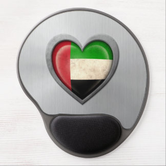 United Arab Emirates Heart Flag Stainless Steel Ef Gel Mouse Pad